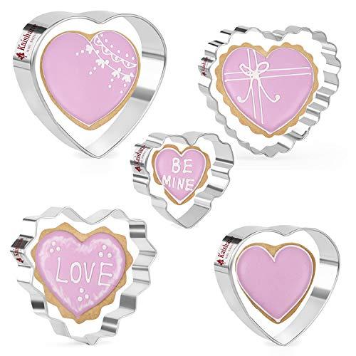 KAISHANE 5 PCS Set de cortadores de galletas con forma de corazón de acero inoxidable Cortadores de galletas para el día de San Valentín