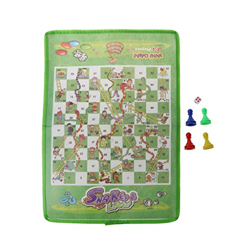 Rtengtunn Snake and Ladder Kids Flying Chess Tela no Tejida Juego de Mesa Familiar portátil