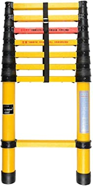 HLL Ladder,Step Ladder 2-6M Extension Tall Ladder with Hooks and Non-Slip Mat Professional Aluminum Telescoping Ladder Construction Outdoor Load 150Kg,2m/6.5ft