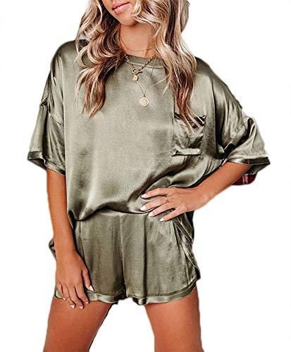 TECB Pijama sexy para mujer, de satén, corto, con tirantes, camiseta y pantalones cortos de un solo color. Verde militar. M