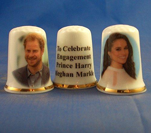 birchcroft Porzellan China Fingerhut, Sammlerstück, Prince Harry & Meghan Markle Verlobungsring Paar