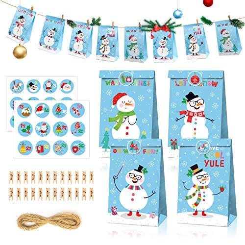 Halcyerdu 24 Stück Adventskalender zum Befüllen,Weihnachten Geschenk KraftpapierTüten mit 1-24 Adventszahlen,Weihnachtskalender DIY Bastelset