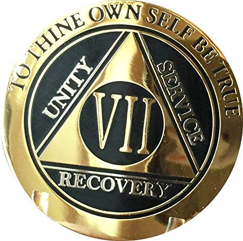 RecoveryChip 7 Year AA Medallion Elegant Black Gold Silver Bi-Plated Alcoholics Anonymous Chip