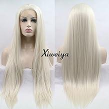 Xiweiya Naturel Cheveux raides Blond clair Ombre Couleur Marron c/ôt/é suppl/émentaire synth/étiques Perruque lace front pour femme r/ésistant /à la chaleur Fibre de remplacement Perruque Cosplay Cheveux