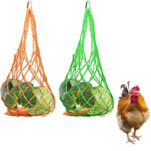 Chicken Vegetable Feeder String Bag - Cabbage Fruit Holder Hanging Skewer for Poultry Hens Goose Duck Cage