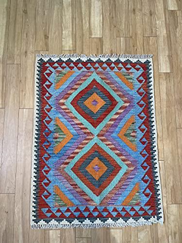 Alfombra oriental afgana hecha a mano Kilim de lana de colores naturales afganos turcos nómada persa tradicional persa 124 x 202 cm vintage corredor pasillo escalera reversible