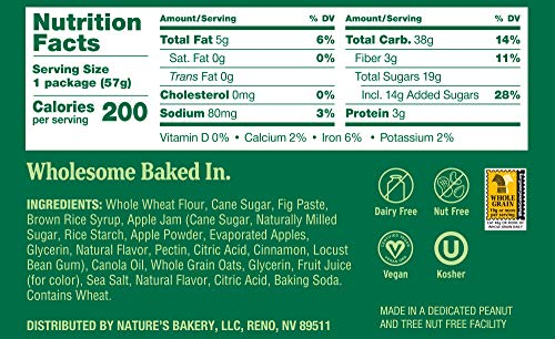 Health Shopping Nature's Bakery Whole Wheat Fig Bars, Apple Cinnamon, Real