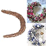 dxS8hhuo Handmade Crescent Moon Shape Rattan Wreath Base Ornament DIY Craft Easter Home Party Decor - Brown