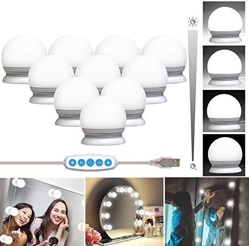QYH Schminklicht,Hollywood Stil 10 Lampe Dimmbar Led Schminkleuchte,Make Up Licht,Usb-Kabel Schminklampe für Schminktisch Kosmetik Spiegel Beleuchtung
