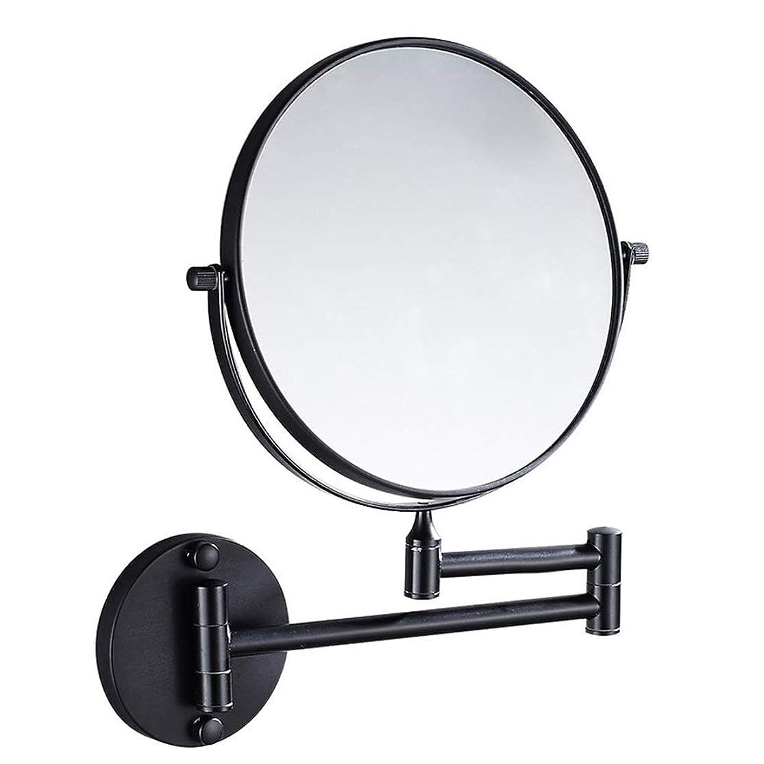 ラグ共同選択できた流行の ブラック銅ミラー浴室壁掛け折りたたみ美容ミラー両面望遠鏡拡大鏡8インチパンチフリー