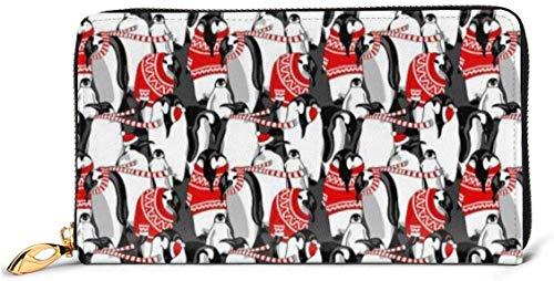 Cartera de cuero nórdico rojo para mujer pingüinos con bloqueo RFID con cremallera alrededor de la cartera de cuero genuino de embrague titular de la tarjeta de viaje bolso de la muñeca