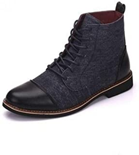 Dr. Martin Unisex Boots Large size men's leather boots trend tooling ankle boots casual wear-resistant short boots mid-top trend men's shoes personalized casual leather boots (Color : B, Size : 44)