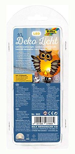 folia 983 - Deko LED Licht, 10 Stück, warmweißes Licht, ideal als Teelichtersatz, für Laternen, Windlichter