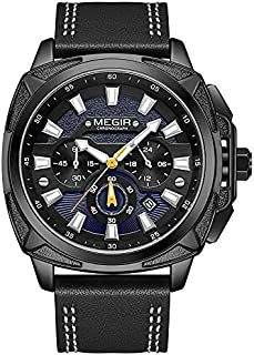 Megir Casual Watch for Men Chronograph Leather ML2128G-BK-3 Black