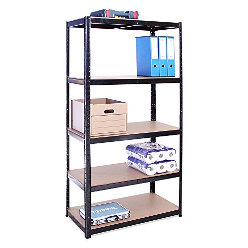 Garage Shelving Units: 180cm x 90cm x 45cm | Heavy Duty Racking Shelves for Storage - 1 Bay, Black 5 Tier (175KG Per Shelf), 875KG Capacity | For Workshop, Shed, Office | 5 Year Warranty