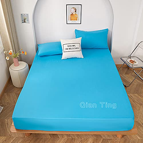 Lamcomt 1 funda de colchón de 100% poliéster sólido con cuatro esquinas con banda elástica para cama (funda de almohada de solicitud) (color: Baolan, tamaño: fundas de almohada de 50 cm x 70 cm)