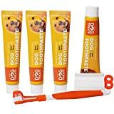 Natural Dog Treats Cepillo y 4X Dentífrico Set para Perros, Set Higiene Dental, Pasta de Dientes Sabor a Carne, Cuidado Dental Comestible