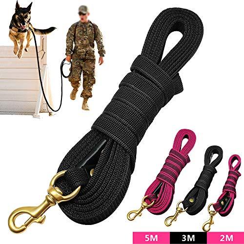 LONG-C Hundeleine Nylon rutschfeste Hundeführleine für mittelgroße Hunde Gehtraining 2m 3m 5m,Black,3m