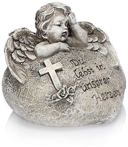com-four® Grab Dekoration Engel, Gedenkstein mit Rosen und Kreuz, wetterfester Grabschmuck, Trauerstein mit Gedenkspruch (1 Stück - Engel Du lebst in unseren Herzen)
