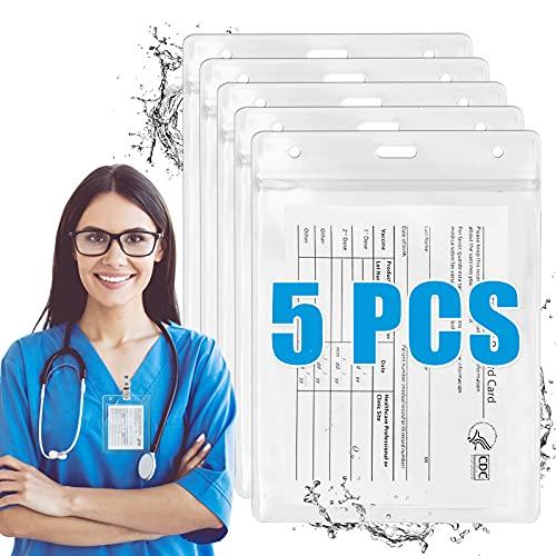 5Pcs Card Protector 3x4 Waterproof Plastic Badge Holders Card Protector Id Badge Holder Name Tag Badge Cards Holder Resealable Zip
