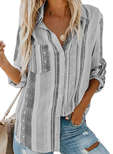 Biucly Women's Casual Stylish Striped V Neck Button Down Cuffed Sleeve Blouses Shirts Tops Pullover S-2XL D-Gray