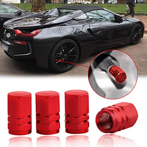 Xotic Tech Tire Valve Cap Universal, 4X Red Wheel Tyre Tire Valves Dust Stems Air Cap Cover for Car Truck Motorcycles