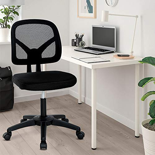 Home Office Chair Mesh Computer Chair Armless Ergonomic Desk Chairs Adjustable Task Chair Swivel Rolling Executive Chair with Lumbar Support, Black