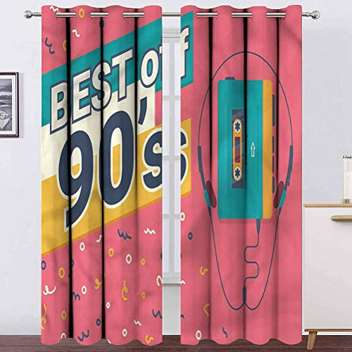 """Living Room Curtain 90s Bedroom Curtains Window Treatment Best of 90s Cassette Player for Holiday Season Home Decoration 2 Grommet Top Curtain Panels,42"""" W x 54"""" L"""