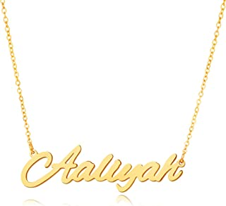 MMTTAO Custom Name Necklace Personalized 18K Gold Plated Name Necklace Script Initial Nameplate Pendant Necklace Monogrammed Words Customized Charm Jewelry Gifts for Women Girls Mother Girlfriend