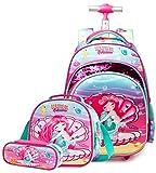 HTgroce - Mochila con ruedas para niña, primaria, sirena trolley 2 en 1, bolsa de deporte para niña, mochila con ruedas, equipaje, equipaje, ocio, bolsa de almuerzo, 42 x 30 x 19 cm