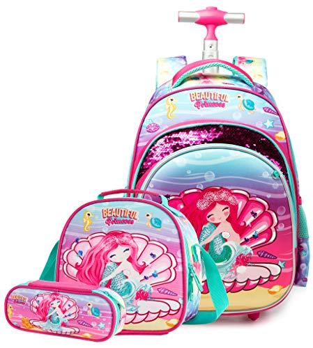 Sirena Mochila Escolar Ruleta Equipaje de cabina Viaje de ocio Niño Niña Niño Juego de jardín de infantes Primaria Mochilas con ruedas para niñas