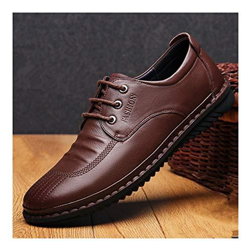 WATERMELON Oxford Negocios for Arriba Estilo de los Hombres del cordón de Cuero auténtico Transpirable Plantilla Plana Cordones ceroso Color sólido Zapatos Casuales súper Blando
