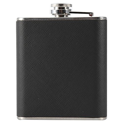 Porta cigarrillos, ligero diseño 2 en 1 de acero inoxidable, 5 cigarrillos, frasco de vino, 5 oz para amantes de la familia(black)