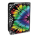 Funda para Soporte de Pasaporte Funda de Viaje de Cuero PU con diseño de ala de Mariposa y arcoíris