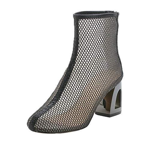Houdeyouhaishengwu Zapatos De Mujer Marea Verano Sandalias De Malla Sexy Moda Botas De Red De Tacón Grueso Todo Fósforo Sandalias De Tacón Alto Baotou