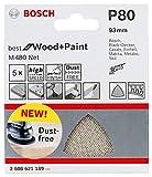 Bosch Professional 2608621189 Hojas de lija M480 triangulares Best for Wood and Paint, madera y pintura, grano P80, accesorios para lijadora delta, Set de 5 Piezas