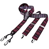 DonDon hombres tirantes 3,5 cm ancho 4 clips con piel cuero marrón de forma Y elástico y con longitud ajustable rojo obscuro negro a cuadros