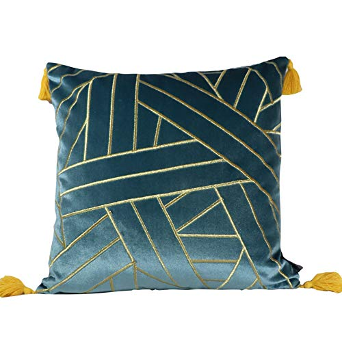 QSMI Velvet cushion cover, 45 * 45cm, embroidered lines, with tassels and stylish luxury finish, brighten you living room sofa couch or bedroom