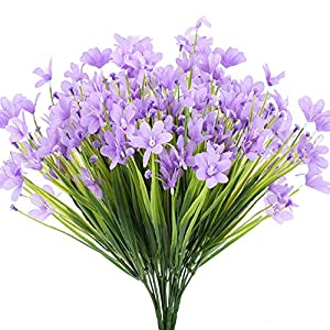 HO2NLE 4 Pcs Artificial Plastic Plants for Outdoor Purple Artificial Silk Flowers UV Resistant Fake Greenery Leaves Shrubs Porch Garden Patio Home Kitchen Basket Decoration