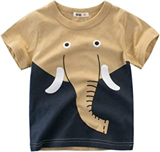 Baby Boys Cute Animals Print T Shirt Tops Summer Clothes Cotton Short Sleeve Tees, 1-10T (Elephant, Suggest for 2-3 Years)