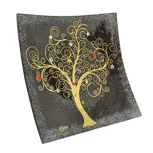 Sospiri Venezia-Centro de mesa de cristal de Murano con árbol de la vida,30x30cm,técnica de vitrofusión,decoración murrinas de Murano y hoja dorada,hecho a mano por artesanos venecianos,color negro