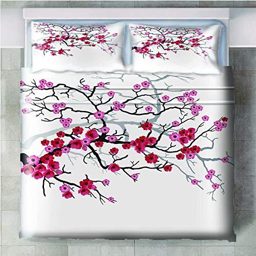 JinWensm Printed Duvet Cover Set Double Size 2 Pillowcases + 1 pcs with Zipper Closure - Ultra Soft Hypoallergenic Microfiber Quilt Cover- Plum blossom