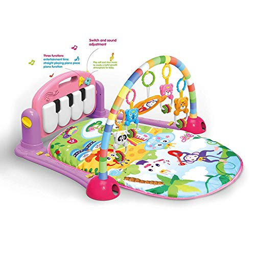 Meero London 666-7C-P New Born Baby Play Mat and Piano Activity Gym for New Born Babies and Toddlers, Discovery Carpet, Music, Rattle, Sound, Fun Animals Suitable from Birth-Pink