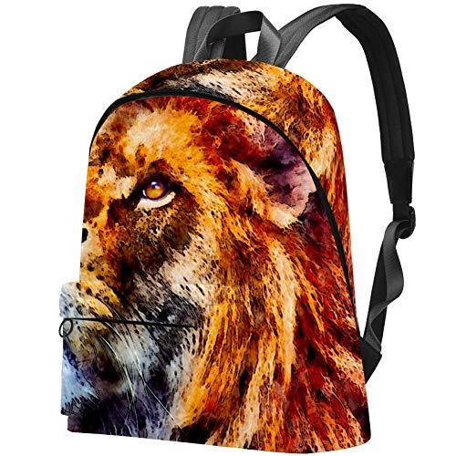 Big Backpack, Animal Lion Art Painting Travel Hiking Daypack, College School Bag for Women & Men