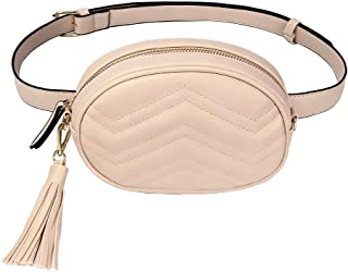 676f9ba18e03 TJEtrade Fanny Packs for Women Fashion Waist Bag Leather Belt Bum Bag  Waterproof (Beige)