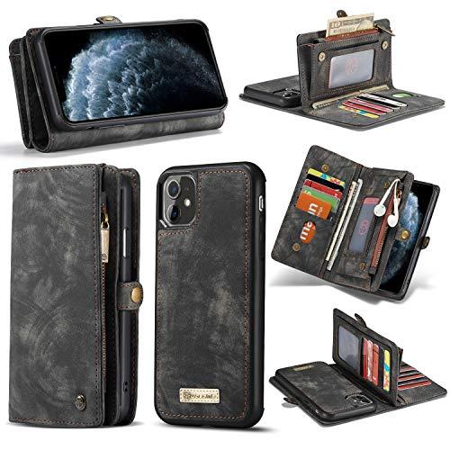 HülleMe iPhone 12 [Pro] Hülle, Handyhülle in edler Optik [Kartenfächer] [Münzfach mit Reißverschluss] [Magnetverschluss] [Standfunktion] [RFID-Schutz] (iPhone 12/iPhone 12 Pro, Brown)