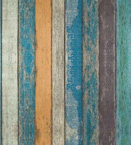 "Rustic Plank Wood Wallpaper - Wood Peel and Stick Wallpaper - Contact Paper or Wall Paper - Removable Wallpaper - Prepasted Wallpaper - Blue Green Yellow Strips - 1.48 ft. x 9.83 ft. (17.71"" x 118"")"