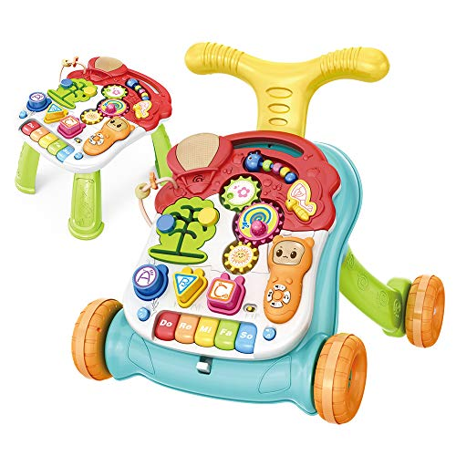 CISAY Sit-to-Stand Learning Walker,2 in 1 Educational Push Toy for Babies,Lighting and Music, Story Phone, Piano, Educational Toys,Baby Music Toy Set-Kids Educational Games (Green)