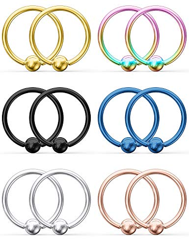 Ruifan 12PCS 316L Surgical Steel Captive Bead Rings Nose Belly Eyebrow Tragus Lip Ear Nipple Hoop Ring BCR 14G 16MM
