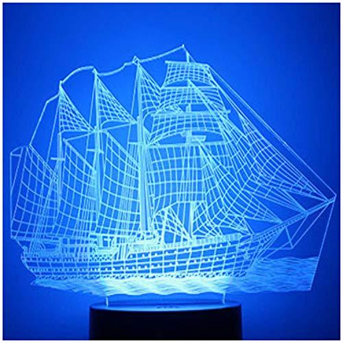3D Lampe 3D Leuchte 3D LED Stimmungslicht. 7 Farben - Auswahl aus 81 verschiedenen Motiven, hier Segelschiff ca.16x19cm inkl.Sockel - 3D Illusion Dekolicht mit USB Anschluß und 220V USB Netzteil